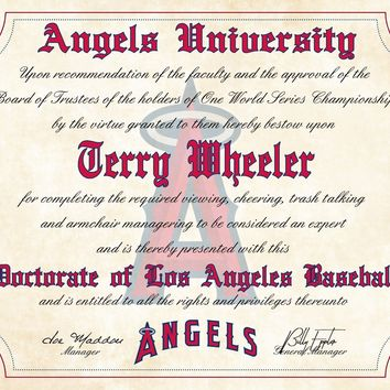"Los Angeles Angels Ultimate Baseball Fan Personalized Diploma - 8.5"" x 11"""
