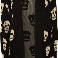 WearAll Women's Plus Size Skull Long Sleeve Knitted Cardigan - Black - US 16-18 (UK 20-22)