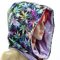 Northern Lights & Purple Holographic Reversable Cowl Hood