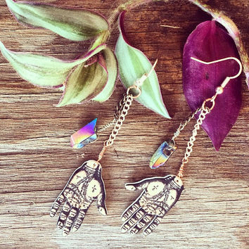 Tarot Palm Wicca Charm Raw Iridescent Stone Dangle Earrings // Silver + Gold Earrings feat. Vintage Chain // Boho Handmade Jewelry