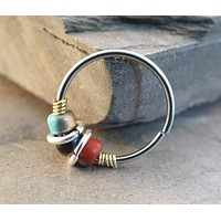 16g 18g 20 Gauge Black Red Turquoise Nose Hoop Ring or Cartilage Hoop Earring