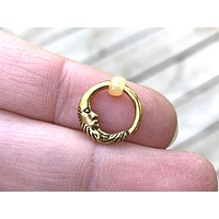 Moon Gold Daith Hoop Ring Rook Hoop Cartilage Helix Tragus