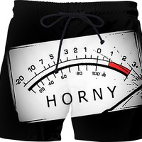 Horny, out of scale, funny swim shorts design, kinky pants