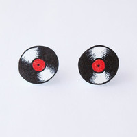 Vinyl Record Stud Earrings - Made to Order