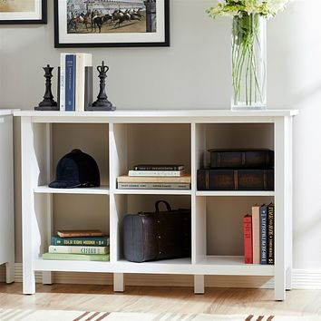 Adjustable Shelf 6-Cube Bookcase Storage Unit in White