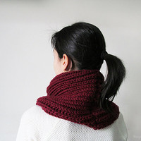 Hand Knitted Cowl in Burgundy - Chunky Knit Cowl - Neckwarmer - Wool Blend - Ready to Ship