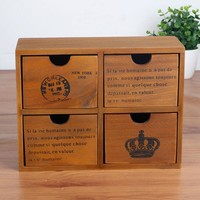 Home Decor Wooden Weathered Storage Box Home Decoration Drawer [6282633798]