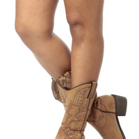 Tan Faux Leather Chunky Cowboy Boots