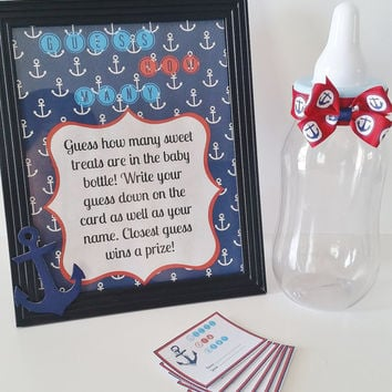Guess How Many Baby Shower Game, M&M Game, Nautical Baby Shower, Table Centerpiece, Nautical Shower Games, Sailor Baby Shower
