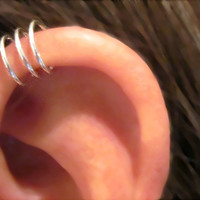 """Holiday SALE 3 for Price of 2 No Piercing Sterling Silver  Handmade Helix Cuff Ear Cuff """"Triple Loops"""""""