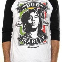 ROCKWORLDEAST - Bob Marley, Baseball Jersey Shirt, Rebel Music