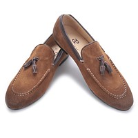 new arrival Black and Brown men suede shoes with leather tassel men handmade casual loafers Fashion male's flats