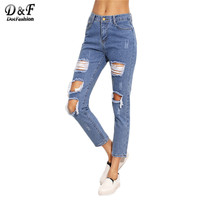 Dotfashion Women Fashion Denim Trousers Blue Knee Ripped Skinny Cropped Pants Mid Waist Button Fly Jeans