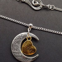 Crescent Moon Necklace I Love You to the Moon and Back Necklace Sisters Forever