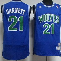 Best Deal Online Mitchell & Ness Hardwood Classics NBA Basketball Jerseys Minnesota Timberwolves #21 Kevin Garnett Blue