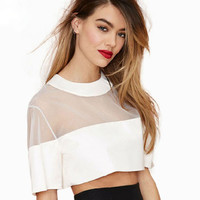 Short Sleeve Mesh Accent Cropped Top