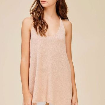 Perfect Lace Up Top - Blush
