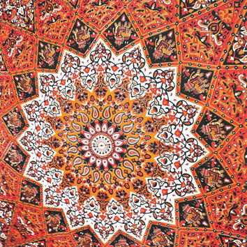 Beautiful Indian Psychedelic Tapestry, Indian Star Mandala Tapestry, Throw Decor Art, Indian Wall Hanging, Queen Size Bedspread