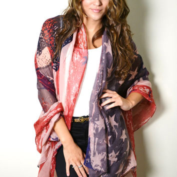 BOHO Vintage USA American Flag Scarf with Skull Print Red White Blue Shawl Wrap Scarf Bohemian Patriotic Holiday Gift Idea