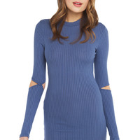 Ribbed Mini Dress With Cold Elbow-Blue