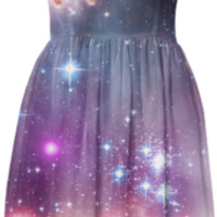 Galaxy nebula stars in space hipster summer sun dress created by iGalaxy | Print All Over Me
