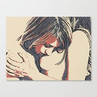 Erotic Art Canvas Print - Girls love to play naughty, unique, sexy conte style drawing, lesbians kissing sketch sensual high quality artwork