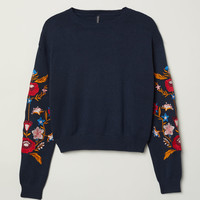 Knit Sweater with Embroidery - Dark blue/flowers - Ladies | H&M US