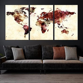 Large Watercolor World Map Wall Art World Map Artwork Canvas Print