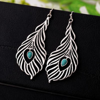 Vintage Acrylic Silver Tone Peacock Feather Shape Earrings
