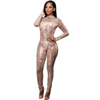 2017 New Autumn Women Black Sequined Jumpsuit Mesh See Through Bodysuit Fashion Long Sleeve White Sexy Jumpsuits And Rompers