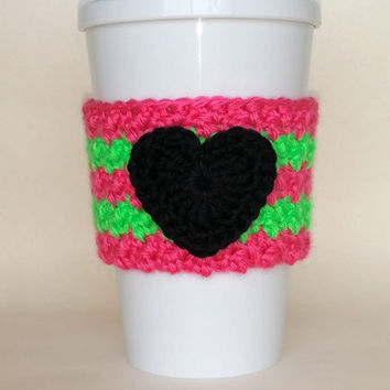Crochet Black Heart Coffee Cup Cozy Neon Pink and Green