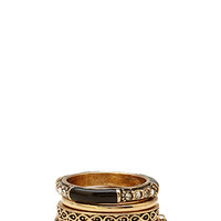 FOREVER 21 Faux Stone Ring Set Black/Gold