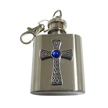 Large Celtic Cross with Blue Center 1 Oz. Stainless Steel Key Chain Flask