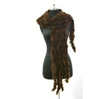 Ostrich Marabou Feather Knitted with Tassels Ended Oblong Scarf --Brown