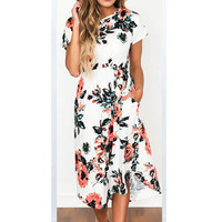 Women Dress Elegant Floral Print Casual Party O-Neck Dresses Work Business Vestidos 118