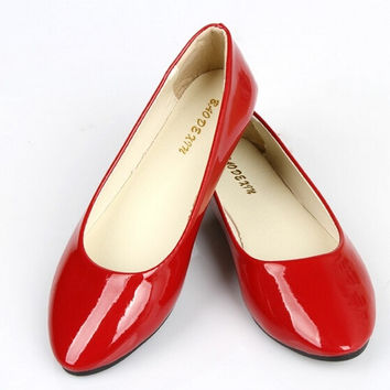 Female Sapatilhas Ballet Princess Shoes Women's Fashion Shoes Solid Candy Color Patent PU Shoes Woman Flats = 1958609348