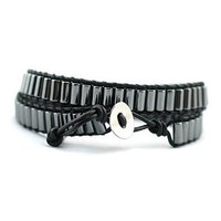 Black Leather and Hematite Beads | Chan Luu Style Wrap Bracelet