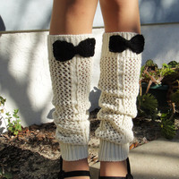 Ivory Legwarmers with Black Bows, Boot Socks, Boot Cuffs (Limited Quantity Available)