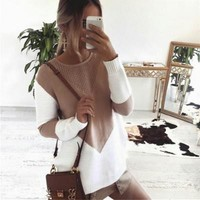 Long Sleeve Knit Tops Winter Hot Sale Patchwork Pullover Sweater [11779091791]