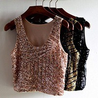 Women Sequins Sleeveless Crop Tops T-shirt Round Neck Tank Vest Tee Cami CaF8