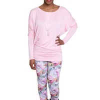 Lilac Lingers in the Air Patterned Leggings with Floral Print and Back Pocket