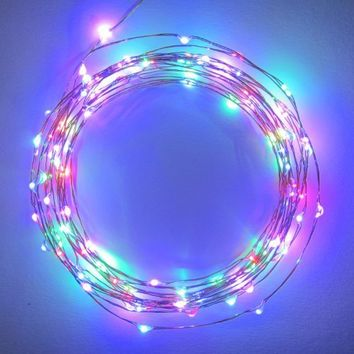 The Original Starry String LightsTM by Brightech - Multi-Colored LEDs on a Flexible Black Wire - 20ft LED String Light with 120 Individually Mounted LED's - Multi Colored - The Perfect String Light for Christmas and the Holiday Season