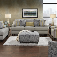 Fusion Chalet Platinum Sofa and Loveseat