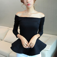 2016 New Women Body Frill Peplum Blouse Top Shirts Elastic Hot Sexy strapless Vintage  18818 31