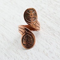 Vintage Copper Bypass Ring - Retro Southwestern Boho Native American Design Bird Costume Jewelry / Totem Pole