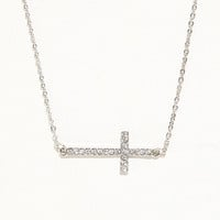 With Love From CA Pave Side Cross Necklace at PacSun.com