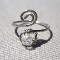 Swarovski Clear Crystal Wrapped Silver Wire Spiral Toe Ring Adjustable Size