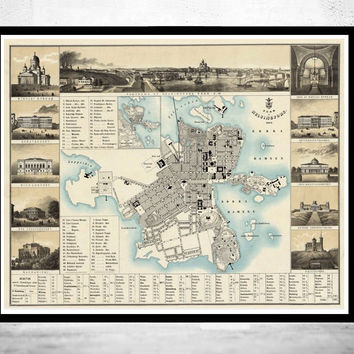 Old map of Helsinki 1860 Helsingfors Finland
