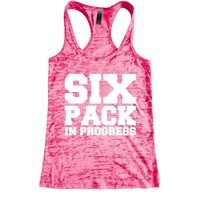 Six Pack in progress Burnout Racerback Tank - Workout tank Women's Exercise Motivation for the Gym