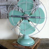 Vintage 1960's Westinghouse Fan Seafoam/Aqua by pickingvintage